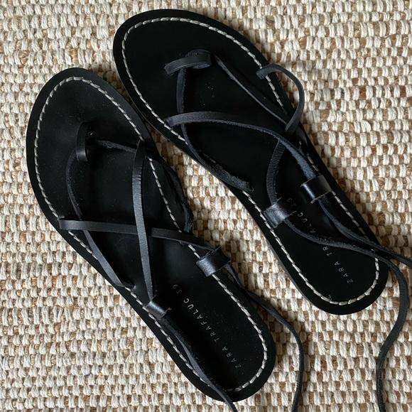 SOLD 🚫 Zara Leather Flat Wrap Sandals
